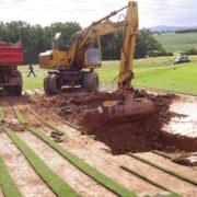 Bauarbeiten Bunker Spielbahn 13 - 18-Loch-Anlage Golfpark Gut Hühnerhof