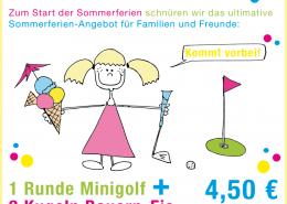 Sommerferienaktion Gut Hühnerhof Minigolf und Eis