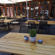 Neue Bestuhlung Café Gut Hühnerhof