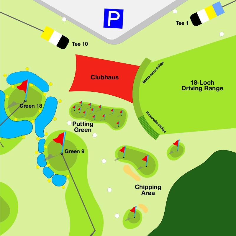 Karte der Übungsanlage des 18-Loch-Platz