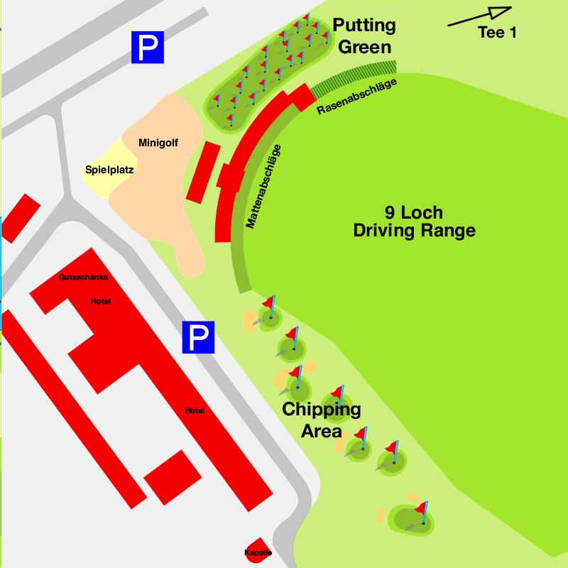 Karte der Übungsanlage des 9-Loch-Platz